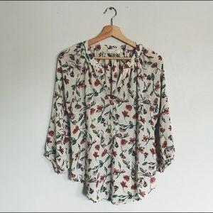 Boutique Warm Toned Flowy Floral Blouse 3/4 Size M